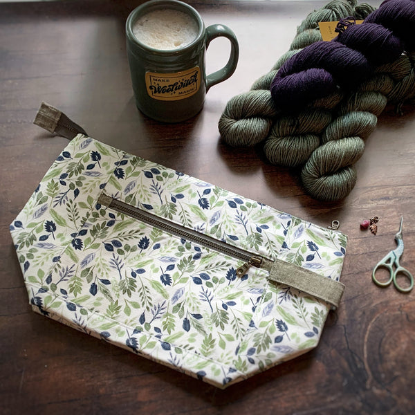 *Herbaceous*  Zippered Knitting Project Bag- *PREORDER-SHIPS IN 6-8 WEEKS*