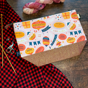 *Season's Greetings*  Zippered Knitting Project Bag
