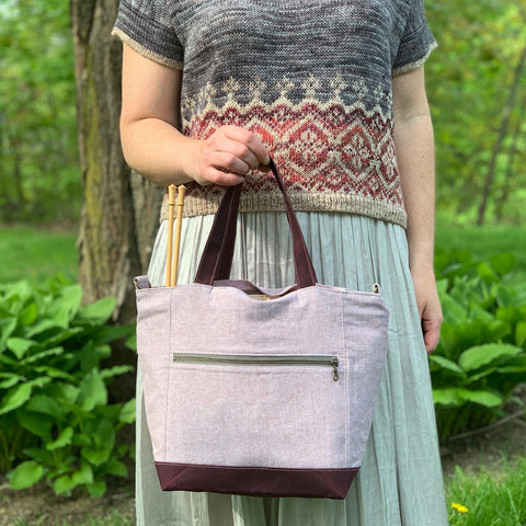 Woodsy and Wild Maple Tote- Spring Collection PREORDER- Zippered Knitting Project Bag/Tote