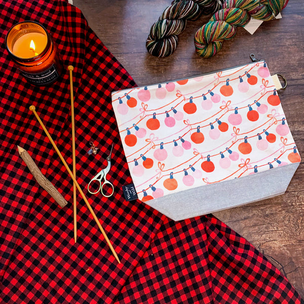 *String Lights*  Zippered Knitting Project Bag- **