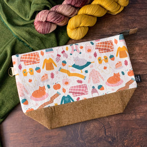 *Cozy Autumn*  Zippered Knitting Project Bag- *PREORDER- SHIPS IN 6-8 WEEKS*