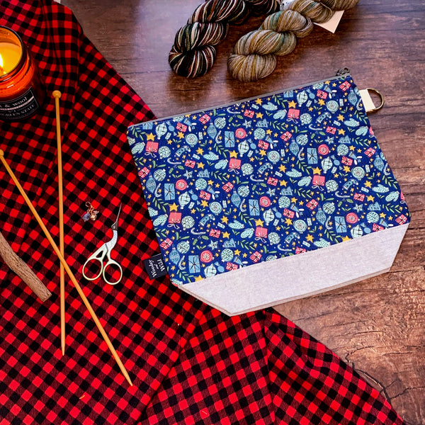 *Liberty Holidays*  Zippered Knitting Project Bag