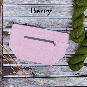 Woodsy and Wild Birch Bag- Berry Zippered Knitting Project Bag