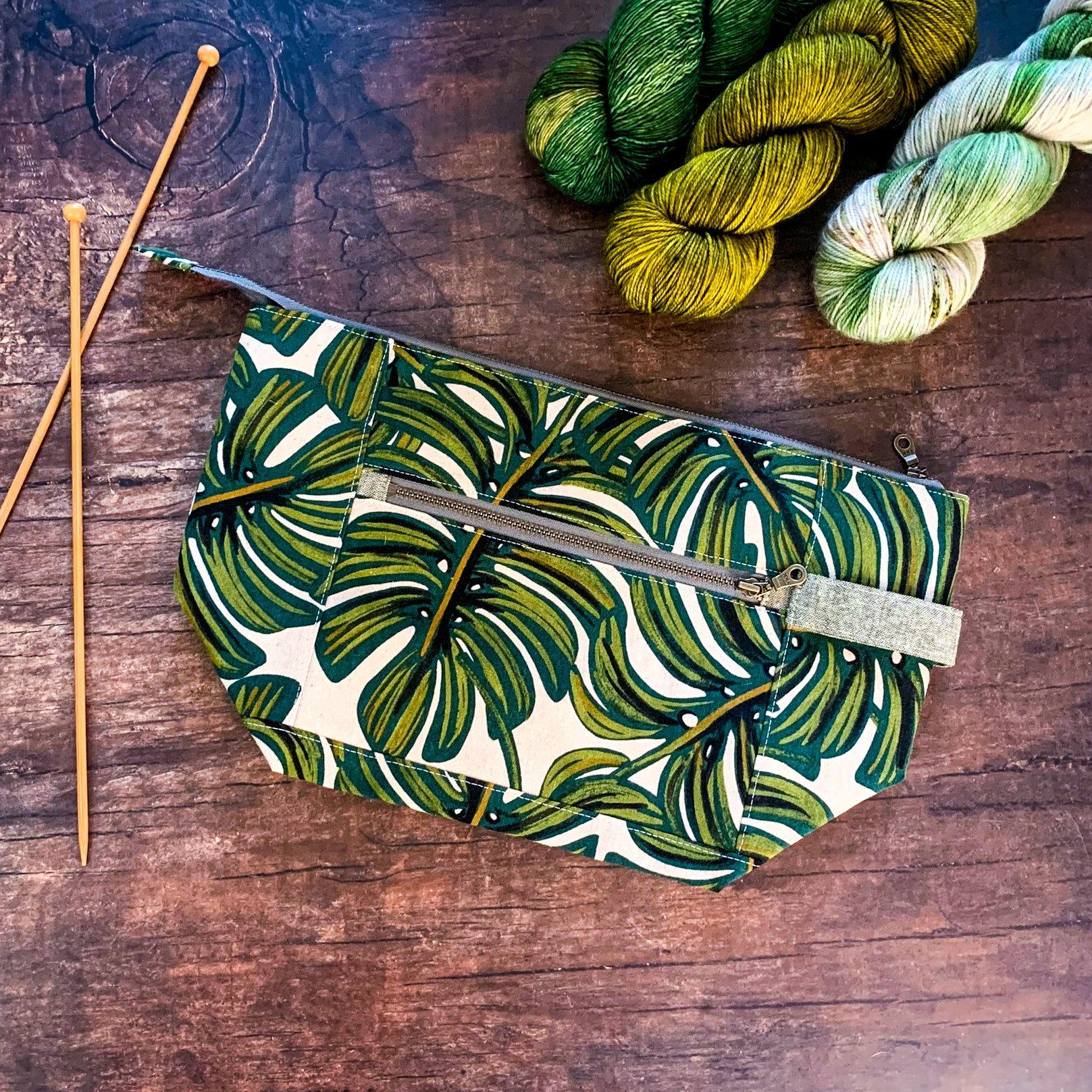 Bag of the Week- *Monstera*  Zippered Knitting Project Bag