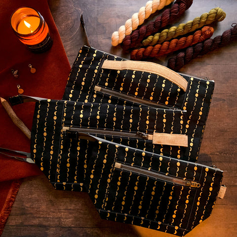 Halloween Small-Batch- *Solstice*  Zippered Knitting Project Bag