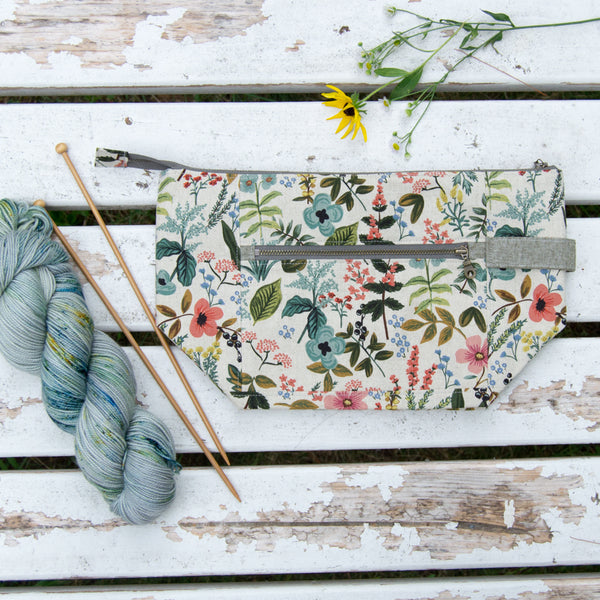 *Special PREORDER* Woodsy and Wild Birch Bag- Herb Garden Zippered Knitting Project Bag