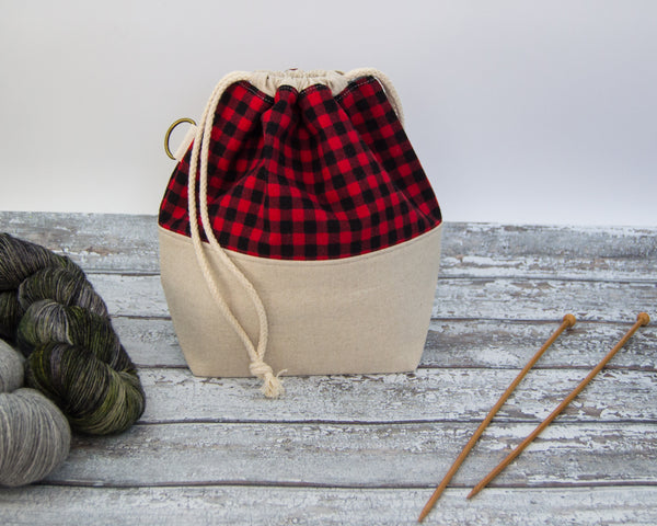 Winter Special Project Bag- Flannel Check