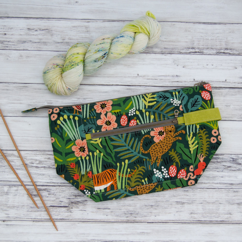 Woodsy and Wild Birch Bag- Jungle Rifle Paper Company Canvas Knitting Project Bag