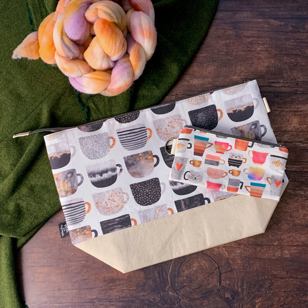*Never Enough Coffee*  Zippered Knitting Project Bag- *PREORDER-SHIPS IN 6-8 WEEKS*
