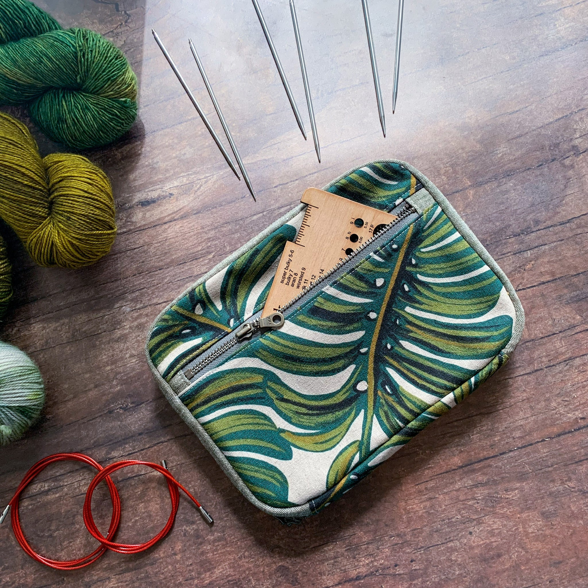 Woodsy and Wild Cedar Clutch- *Monstera* Zippered Interchangeable Knitting Needle Organizer