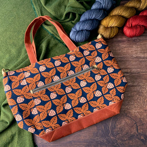 *Strawberry Rainstorm*  Zippered Knitting Project Bag- *PREORDER-SHIPS IN 6-8 WEEKS*