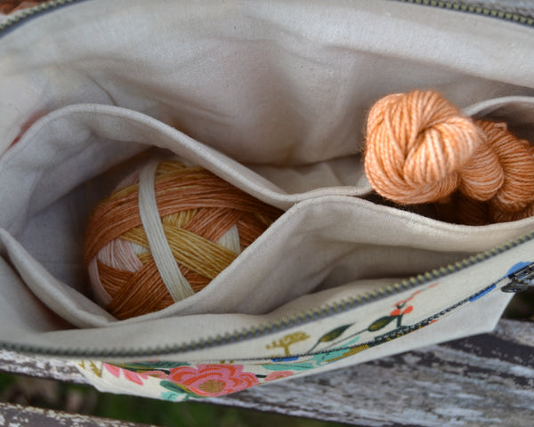Woodsy and Wild Sapling Bag- Winter Special Editions Linen Zippered Knitting Project Bag