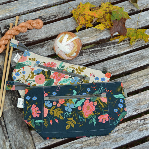 Woodsy and Wild Sapling Bag- Garden Vines Zippered Knitting Project Bag