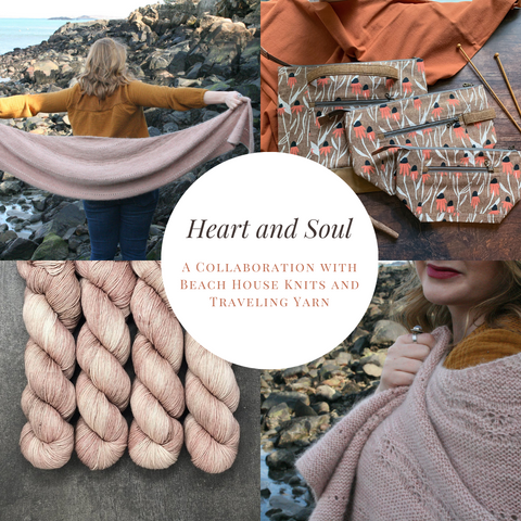 *Heart and Soul*- A Collaboration with Beach House Knits and Traveling Yarn: Zippered Knitting Project Bag- *PREORDER-SHIPS IN 4-6 WEEKS*