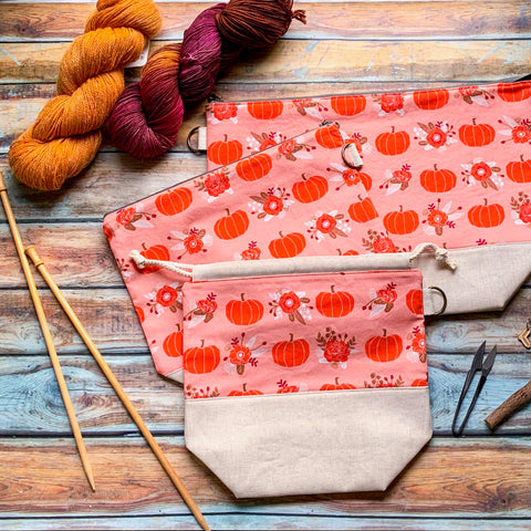 Pumpkin Spice Floral Project Bag