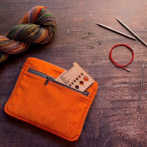 Woodsy and Wild Cedar Clutch- Autumn Collection Zippered Interchangeable Knitting Needle Organizer