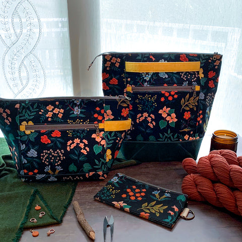 Bag of the Week- *Wild Flowers*  Zippered Knitting Project Bag