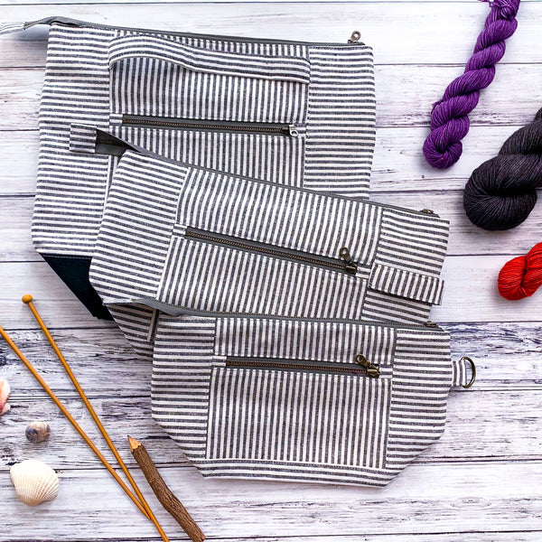 Bag of the Week- *Summer Linens-Umbrella Stripe*  Zippered Knitting Project Bag