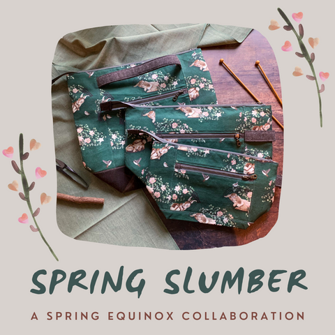 *Spring Slumber*- Vernal/Spring Equinox Collaboration with Lavender Lune Yarn Zippered Knitting Project Bag- *PREORDER-SHIPS IN 4-6 WEEKS*