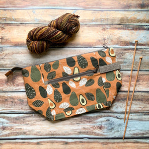*Special PREORDER*- Autumn Avocado Zippered Knitting Project Bag