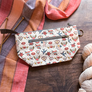 *Always and Forever*  Zippered Knitting Project Bag- *Ready to Ship*