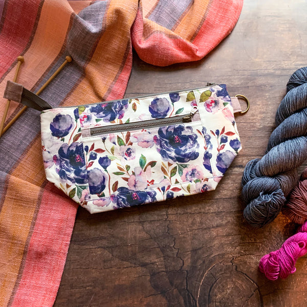 *Midnight Peonies*  Zippered Knitting Project Bag- *Ready to Ship*