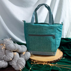 Woodsy and Wild Maple Tote- Holiday Collection Zippered Knitting Project Bag