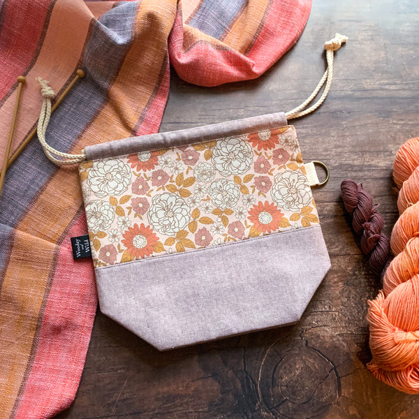 *Plum Blossom*  Zippered Knitting Project Bag- Ready to Ship