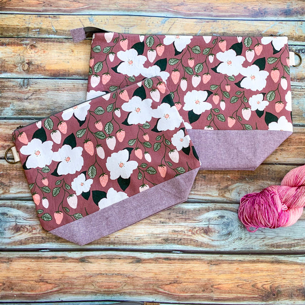 Strawberry Blossoms Project Bag