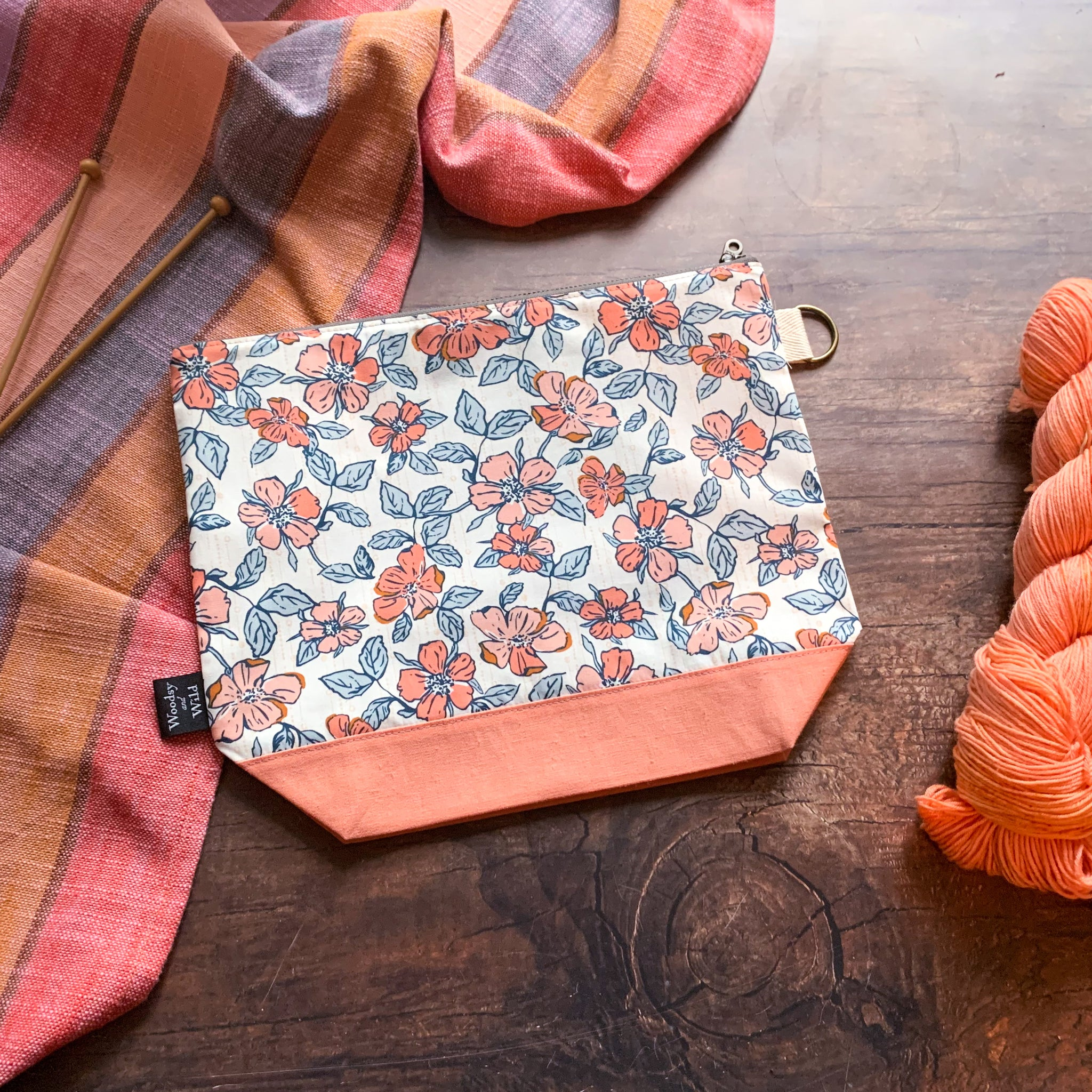 *Crafted Blooms*  Zippered Knitting Project Bag- Ready to Ship
