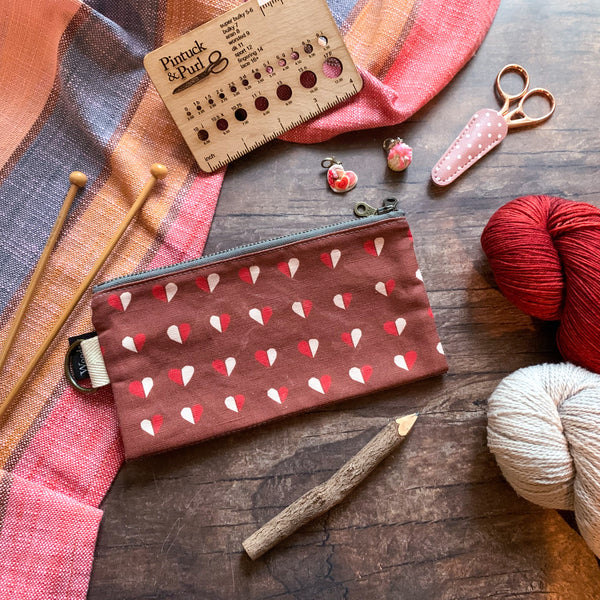 *Chocolate Hearts*  Zippered Knitting Project Bag- *Ready to Ship*