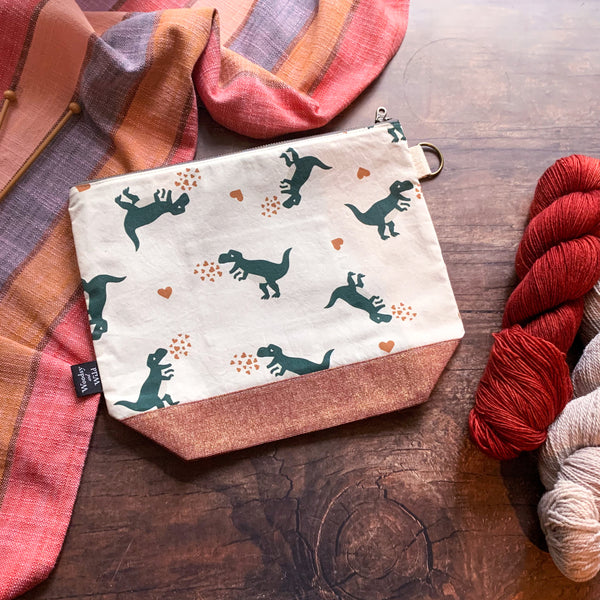 *Dinosaur Love*  Zippered Knitting Project Bag- Ready to Ship