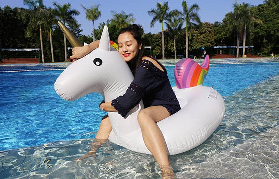 Majesticorn - Inflatable Rainbow Pool Unicorn (75 inches, 200 cm) - DealsMart Online