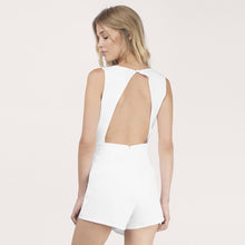 High Waist Deep V Neck Sleeveless Romper