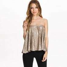 Slash Neck Ruffles Sequin Top