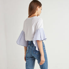 Stripe Patchwork O-neck Ruffle Top