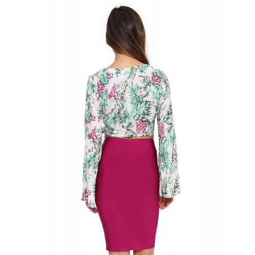 Slim Drawstring Floral Printed Blouse