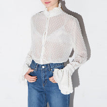 Lace Hollow Out Sheer Flare Sleeve Buttons Blouse