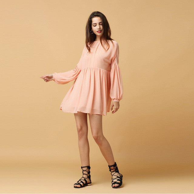 Kawaii Lantern Sleeve A-Line Midi Dress