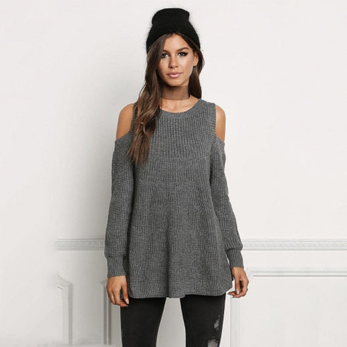Knitted Long Sleeve Cold Shoulder Sweater