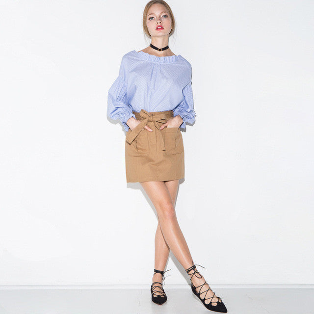 Tie Front High Waist Pockets Skirts