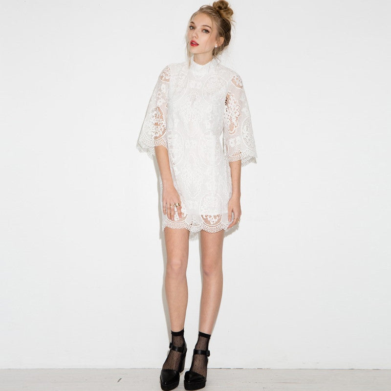 Half Sleeve Hollo Out Lace Dress