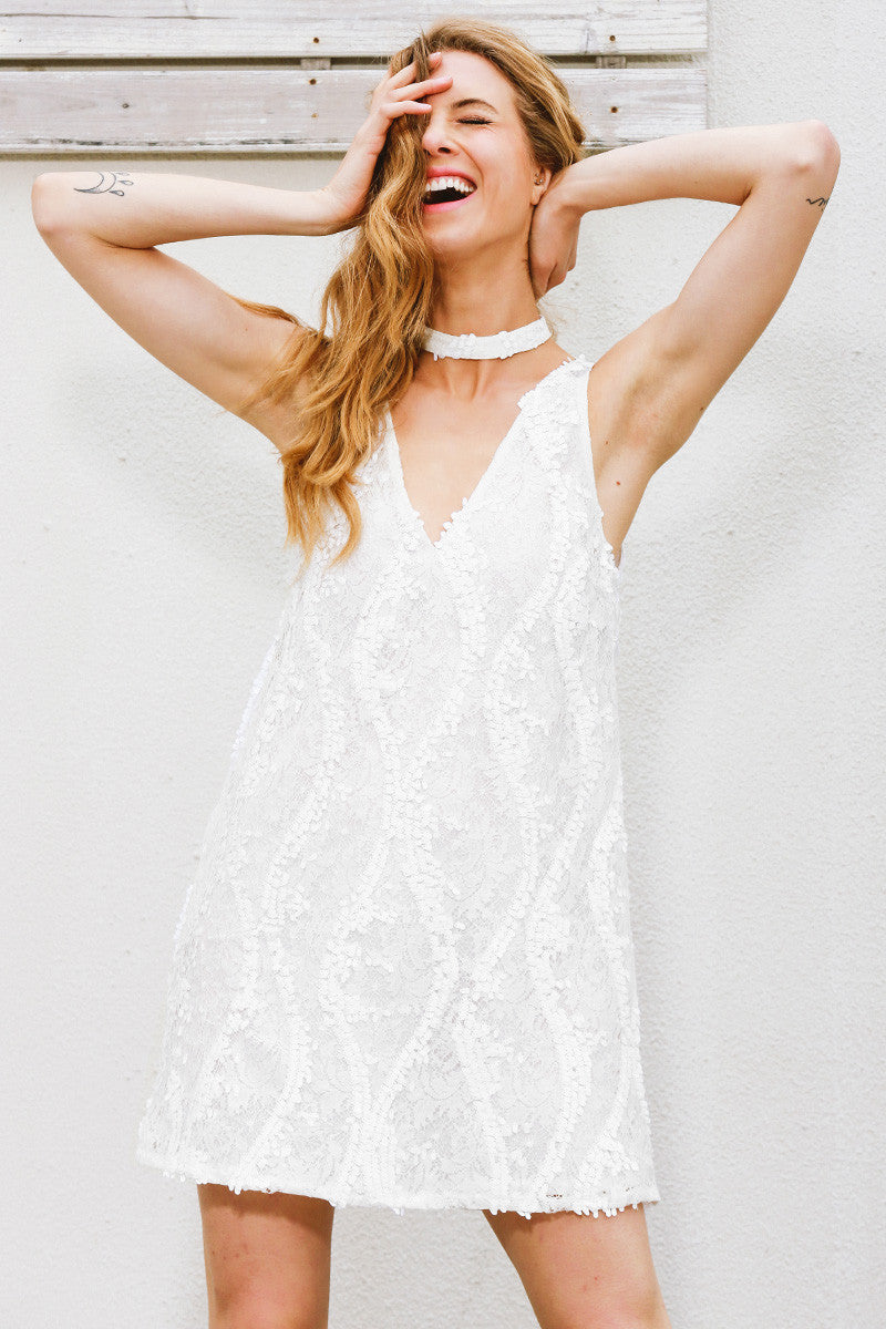 Halter white lace sequins dress