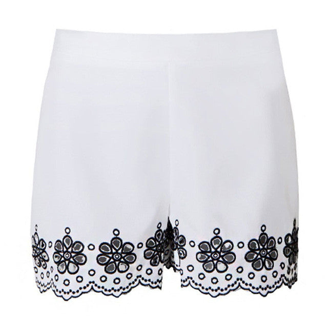 Floral Embroidery White Shorts