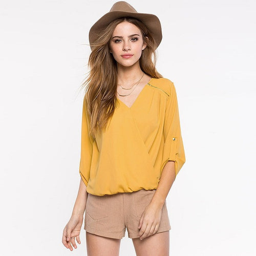Zipper 3/4 Sleeve Chiffon Pleated Blouse