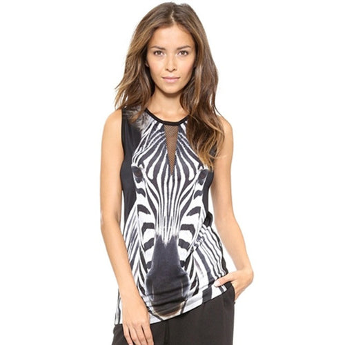 Print Sleeveless Cold Shoulder Tank Tops