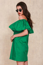 Ruffles slash neck off shoulder dress