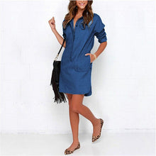 Denim Shirt Long Sleeve Mini Dress