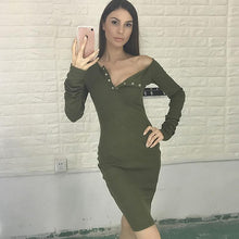 Slim Long Sleeve Button V-Neck Bodycon Dress