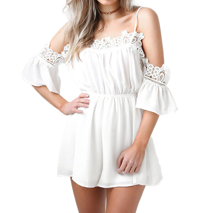 Off Shoulder Lace Chiffon Romper